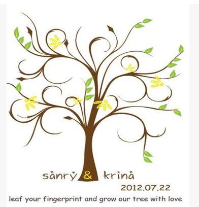 personnalisé 30*40cm d'empreintes digitales arbre de mariage livre autre invité, mariage fournitures de mariage arbre d'empreinte digitale signature arbre(China (Mainland))