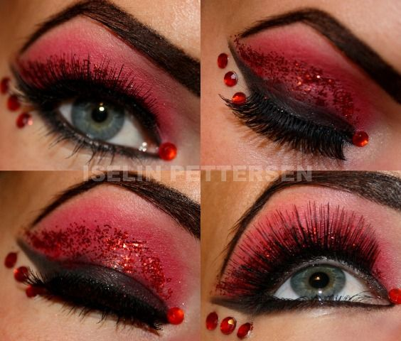 """Bold red and black eye shadow with red glitter and crystals... aptly titled """"The Devil"""". I Actually really like this Red & Black makeup with a hit of glitter but you have to do some falsie eyelashes to set it off"""