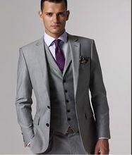 Custom made Mens Light Grey Suits Jacket Pants Formal Dress Men Suit Set men wedding suits groom tuxedos(jacket+pants+vest+tie))(China (Mainland))