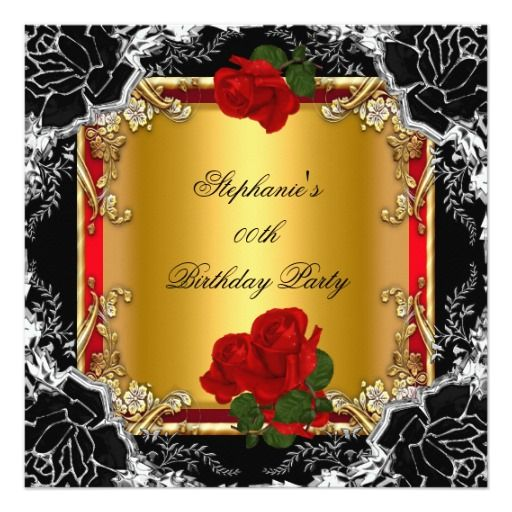 Gold Red Rose Birthday Party Black Silver Floral Invitation