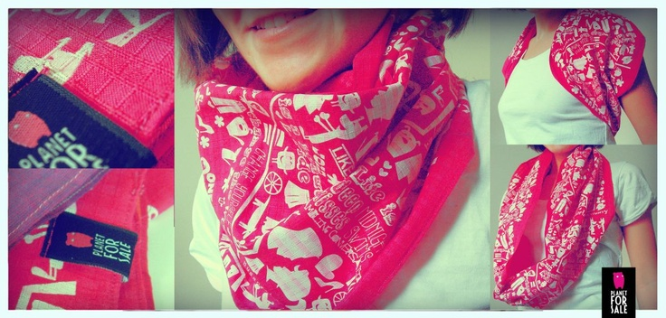 Infinity scarf - Mostro Map - wear it as you like   facebook.com/planetforsale