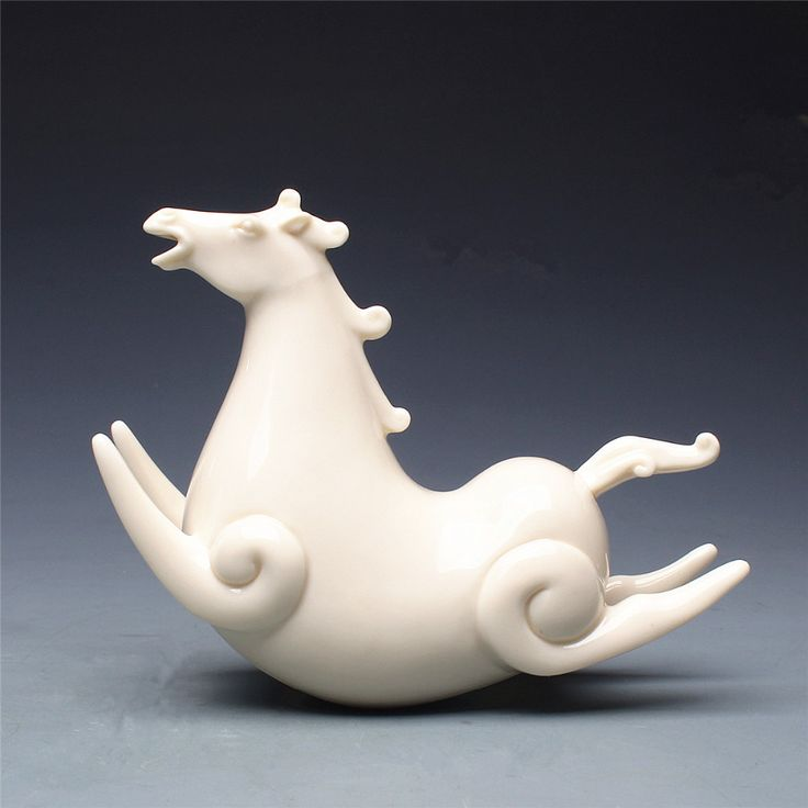 glazed Ceramic art White porcelain Handicraft Home Furnishing Furnishing articles Ornament Ceramic horse Animal Statue