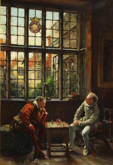 Frank Moss Bennett alkotása, A sakk-játék, olajból készült vászon