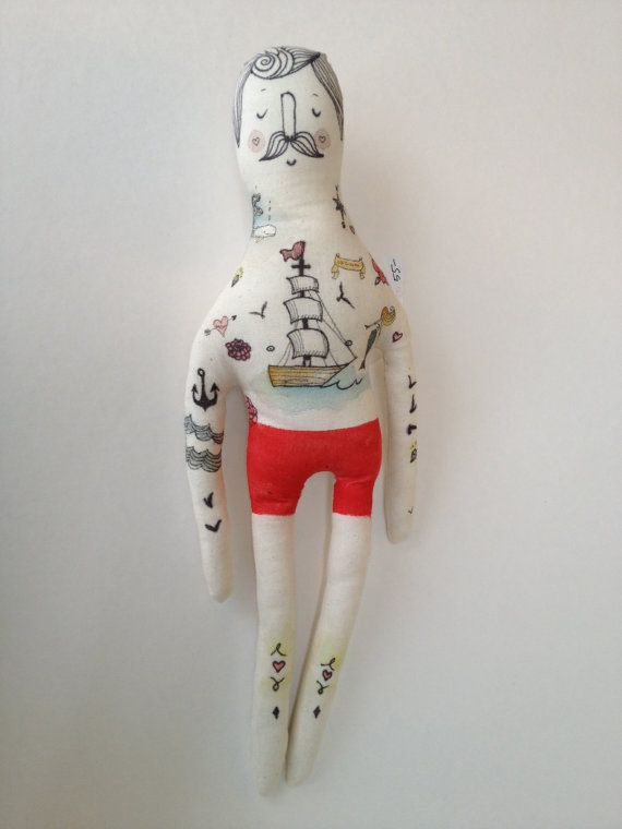 Large Handmade Art Doll Sailor Nautical door BlueRaspberryDesigns, $80.00