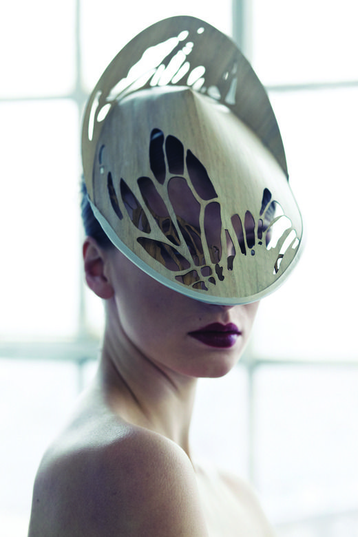 Sculptural Headpiece - moth-inspired hat; couture millinery; wearable art // Emma Yeo