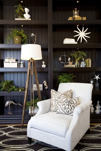 Living Room with bookcase & accessories - traditional - family room - san diego - by Robeson Design
