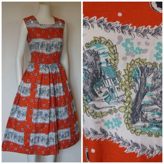 1950s Novelty Print Dress / 50s Cotton Sun by HepCatVintageUK