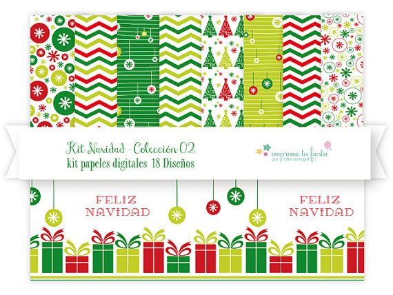 Papeles Digitales Kit Navidad | Paleta Tradicional. Úsalos para hacer tarjetas adornos, scrapbook y más!! por ImprimeTuFiesta