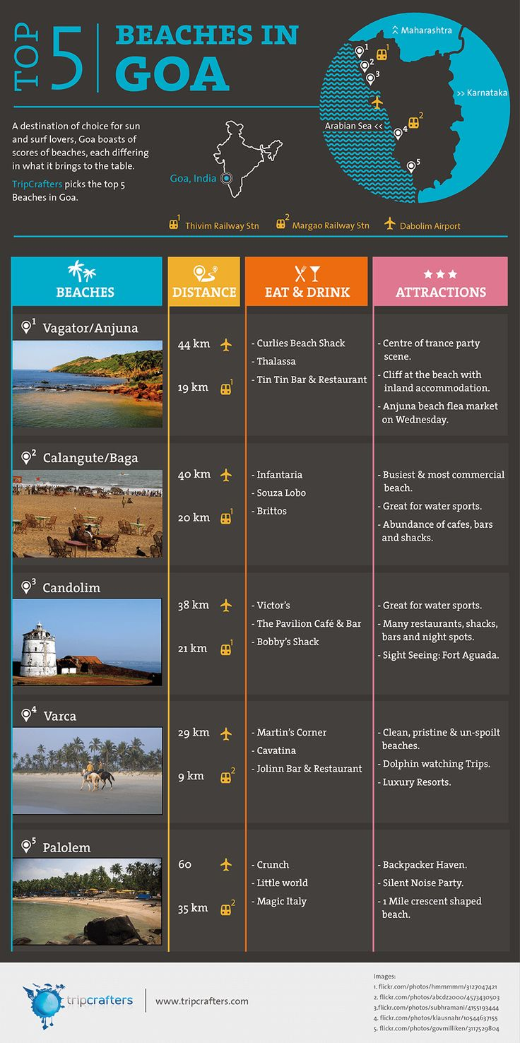Top Beaches In Goa, India. [INFOGRAPHIC]  #Goa | #India | #Travel | #Infographic