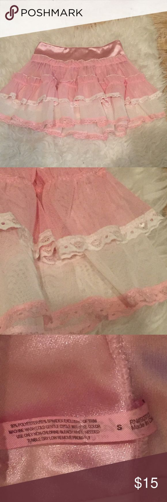 Pink White Lace Stripper Sexy Lingerie Slip Skirt Adorable, never worn cascade mini skirt with Satin waistband and sheer layers of Lace trimmed mesh in white and pink. Size small. Intimates & Sleepwear Chemises & Slips