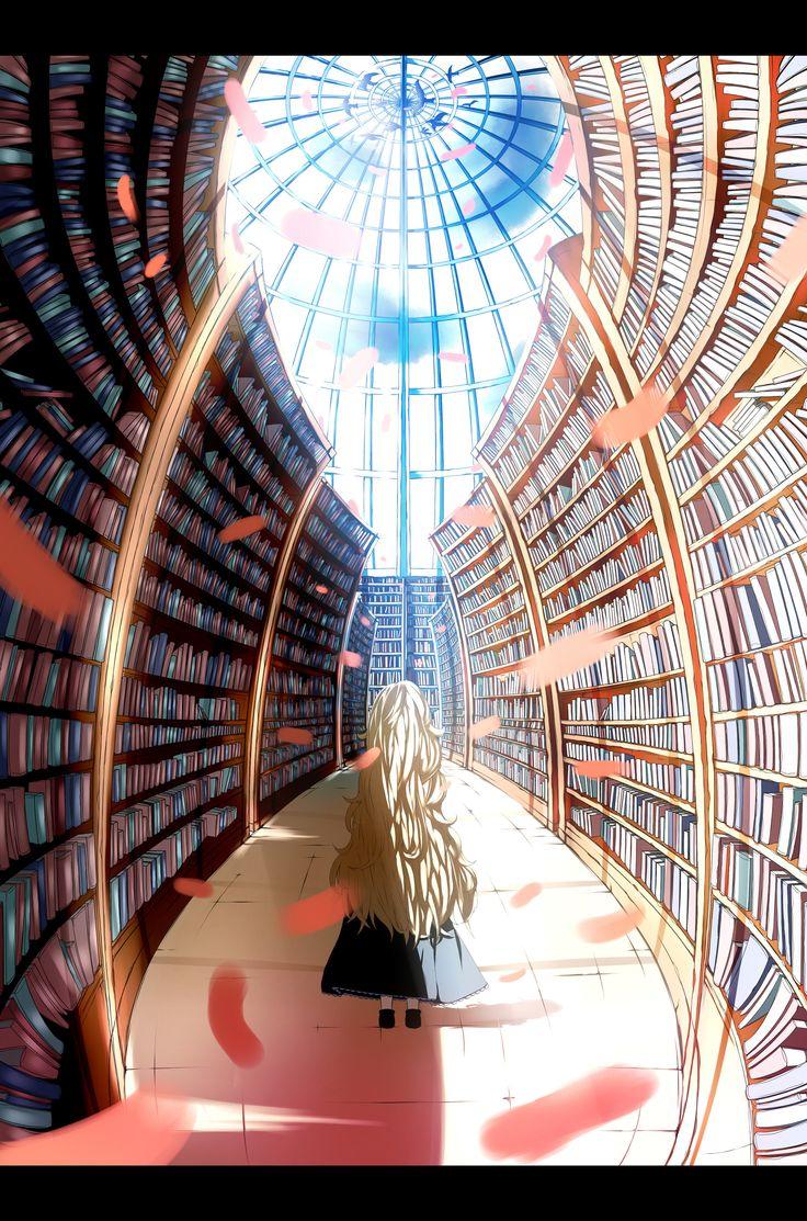 """Library and Girl"" original illustration by urashima"