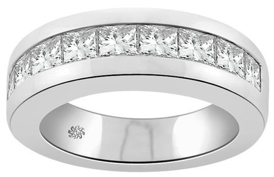 Mens Platinum Wedding Bands with Diamonds