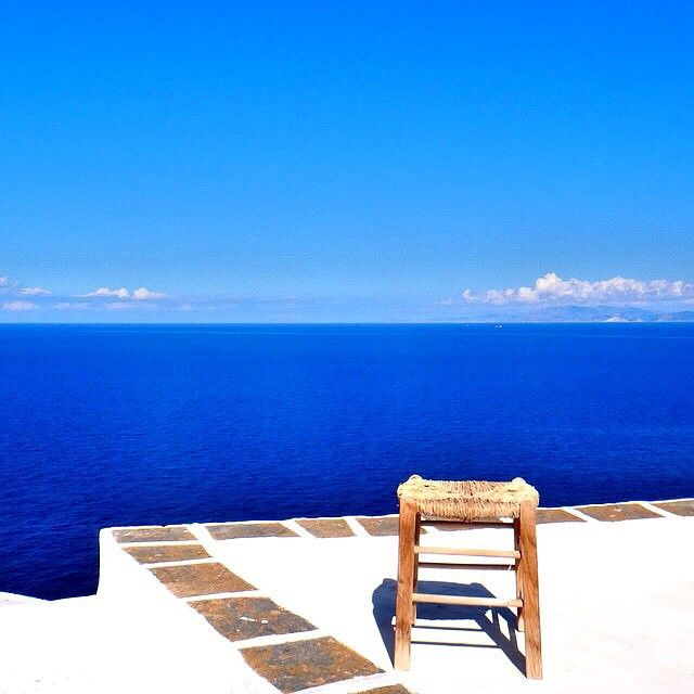 Stunning view from a Cycladic balcony in Sifnos island (Σίφνος) . It's like a painting in front of you with the deep blue sea of the Aegean . No words to describe it ...