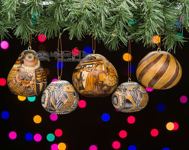 This Is A Beautiful 5 Piece Set Of Natural Southwest Decor Style Gourd Art Christmas Ornaments All For Decorating Your Tree