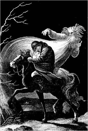 """Der Erlkönig poem by Johann Wolfgang von Goethe about a a father riding to save his son from the ghostly Erlking or """"Erlkönig"""" (literal translation """"alder king"""", possibly a mistranslation of Scandinavian Elf King.)  In the Scandinavian version of the tale, the antagonist was the Erlkönig's daughter rather than the Erlkönig himself. Originally composed by Goethe as part of a 1782 ballad opera entitled Die Fischerin, the poem was famously set by Schubert."""