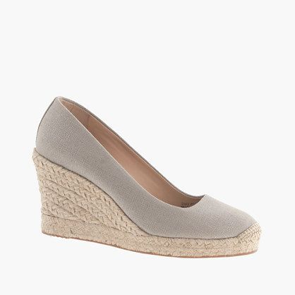 ADDITIONAL 25% OFF WITH CODE SHOPNOW AT JCREW! Seville metallic espadrille wedges #metallic #gray #silver #wedges #shoes #fashion #sale #jcrew