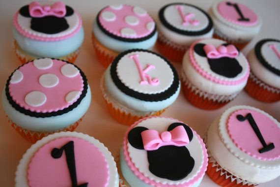 12 Minnie Mouse Inspired Edible Cupcake Toppers for by TheSugarBot, $24.00