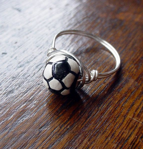 Soccer+Ball+Wire+Wrapped+Ring+custom+sized+by+TwistofNatureJewelry,+$10.00
