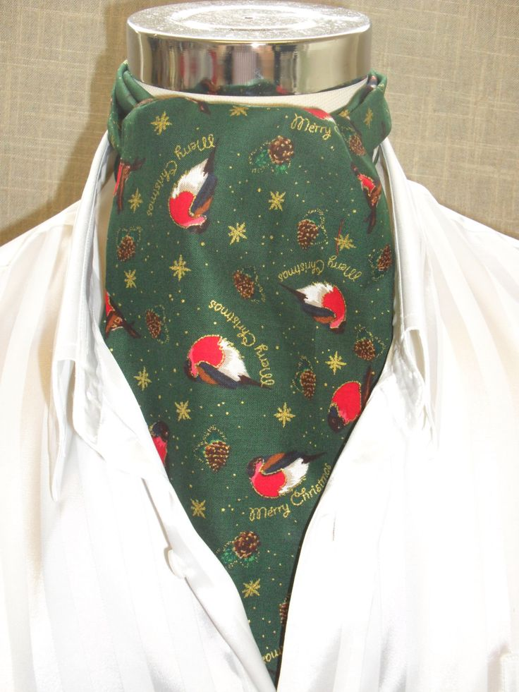 Dark Green Christmas / Holidays / Festive / Xmas Cravat with red breasted birds and pine cones edged in gold. Item No. LDC0307 by LDCcreations on Etsy