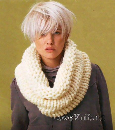 Белый снуд воротник раздел спицами вязаные шарфы