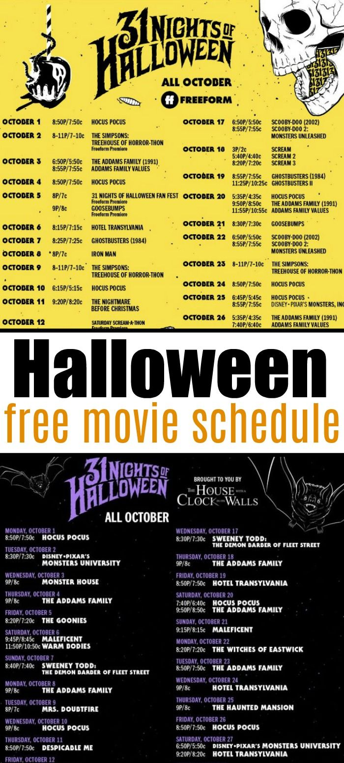 When Do Halloween Shows Start 2020 Free Halloween TV Movie Schedule for 2020 | Free halloween, Movie