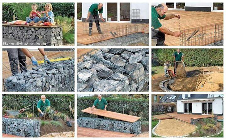 Malla de hierro, piedras, madera & manos a la obra.