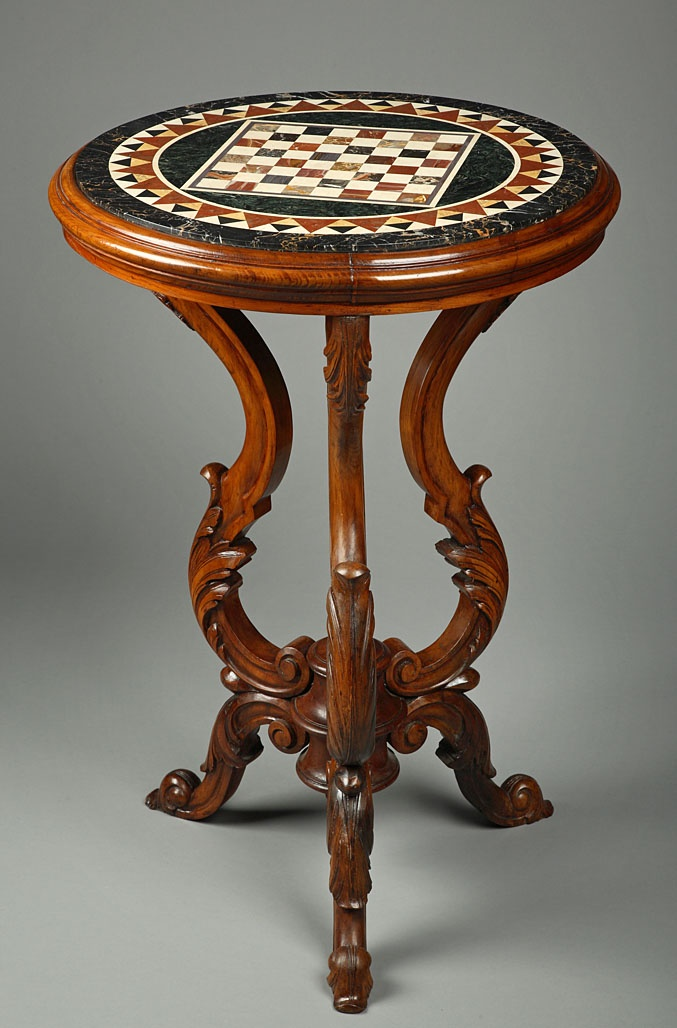 Antique Inlaid Marble Table : An italian top marble inlaid resting on a wood sculpted