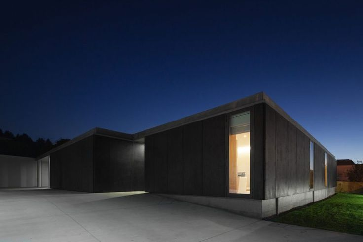 Home Design Home Exterior Among Dark Wall Also Glass Walls On The Bottom From Flat Roof Living Room in Minimalist House with Neutral Color