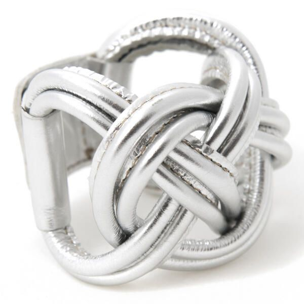 Silver leather bracelet, unique! http://www.issamadeby.nl/naval-knot-big-silver