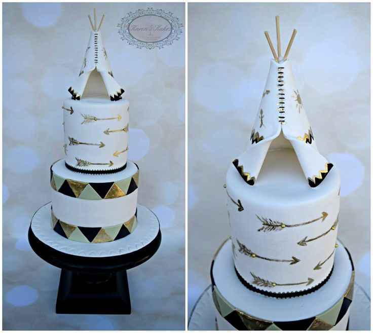 No teepee on top. THIS CAKE BUT I want white to peach to ombre mint on the bottom with gold arrows around the bottom.