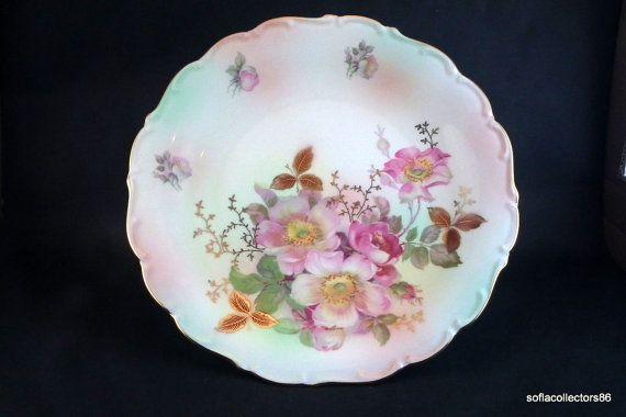Schumann Arzberg Pedestal Cake Stand Wild Rose Pattern - HTF Peach Blush Body by soflacollectors86, $117.00