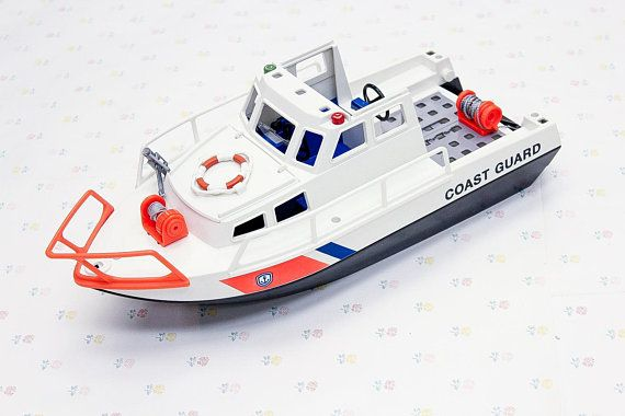 Vintage 90s Playmobil Coast Guard Toy Boat Rescue Boat Toy