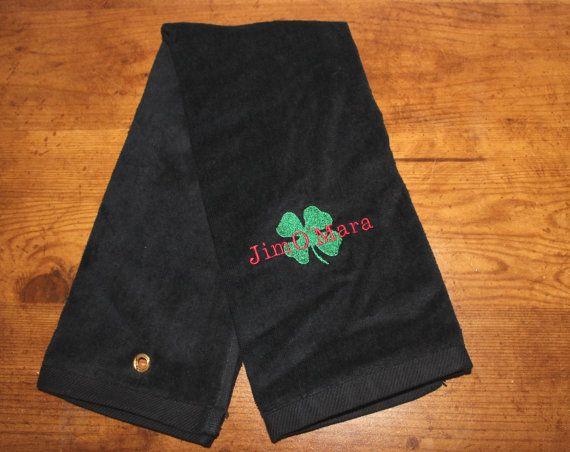 Luck of the Irish Tri Fold Golf Towels, Monogrammed Golf Towel, Shamrock Golf Towel