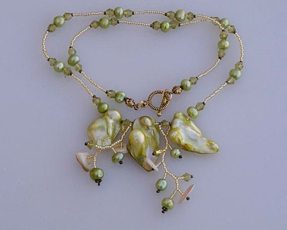 Baroque pearls necklace bitter lemon green N1364 by FleurDeIrk, $49.00