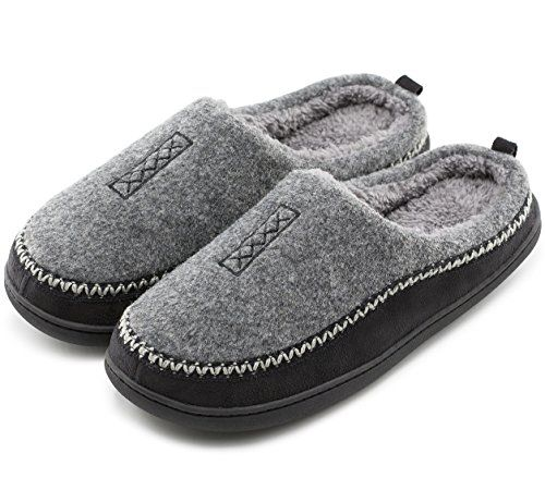 42553686359 HomeTop Men s Indoor Outdoor Wool Cross Decor Slip On Memory Foam Clog House  Slippers (US Men s 11-12