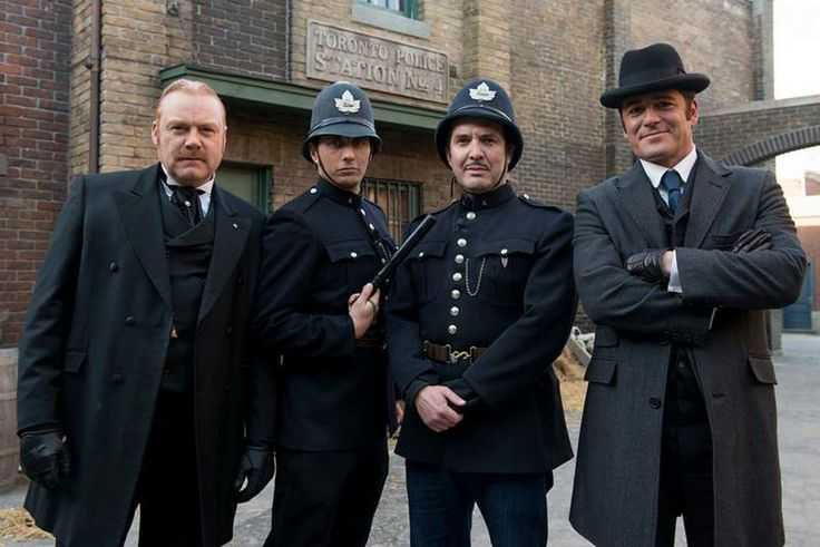 Canadian comedian/ reporter Rick Mercer (second from right) on set of Murdoch Mysteries