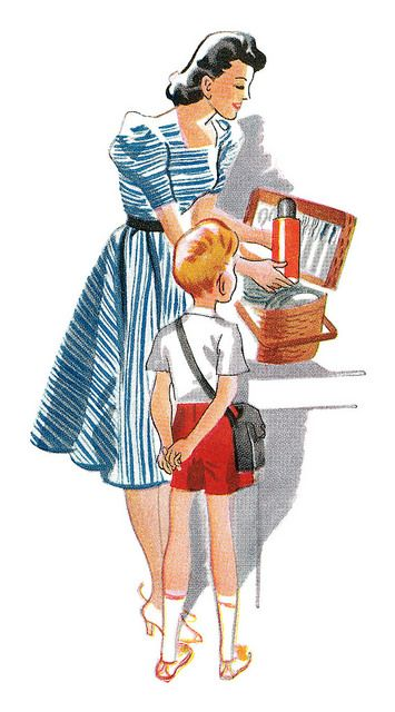 Detail from a 1939 Canadian Department of Fisheries ad  depicting a mom packing up a picnic lunch for her family. #vintage #1930s #1940s #homemaker #mother