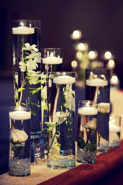 love these candle centerpieces