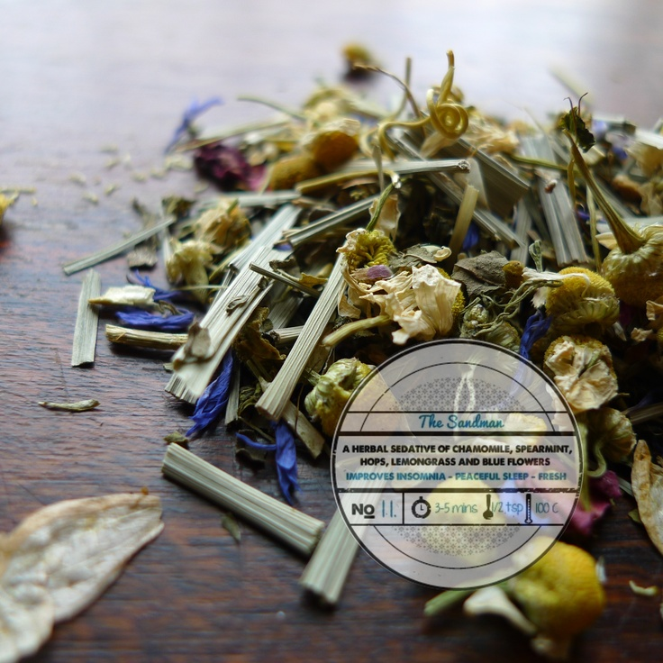 The Sandman by T totaler:  A Herbal Sedative of Chamomile, Spearmint, Hops, Lemongrass and Blue Flowers.