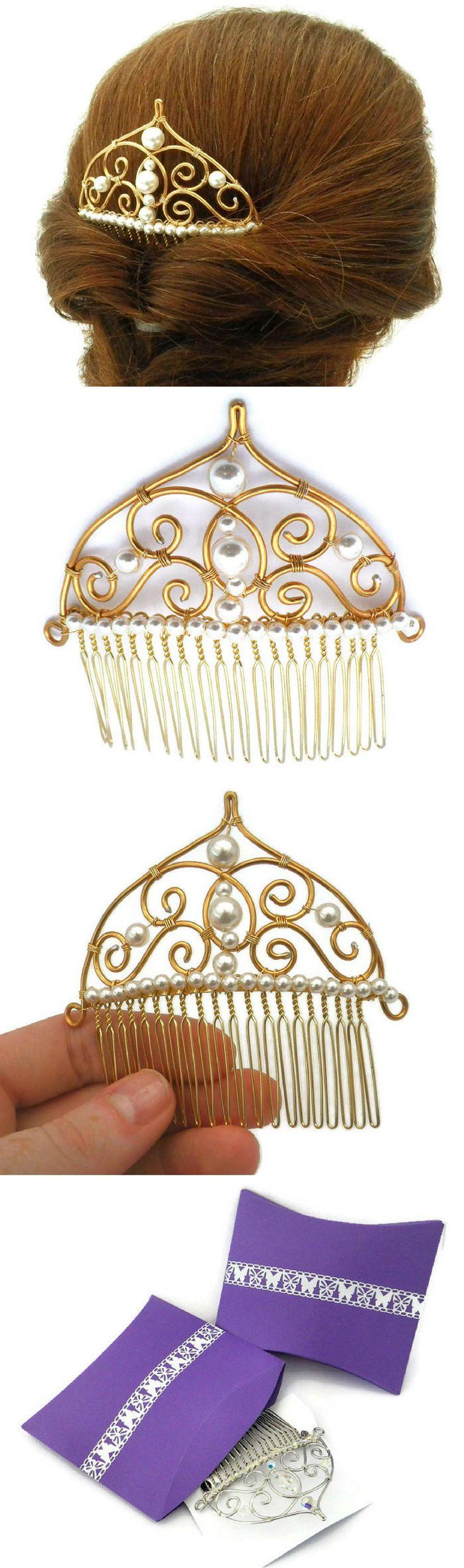Silver, gold, pearl or crystal hair comb, bridesmaid hair ideas, easy wedding hair accessories, flower girl hair ideas, dance hairstyles, prom hair ideas.
