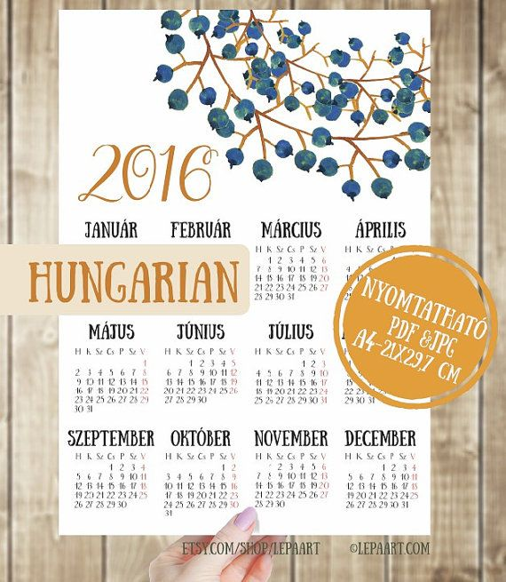 Hungarian Language Calendar 2016!!! English (Sunday start, LETTER size) Calendar 2016 is here: