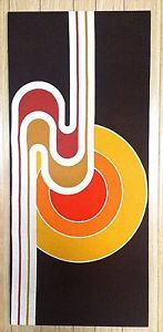 Vintage Verner Panton Style Mid Century Abstract Geometric Fabric Wall Hanging