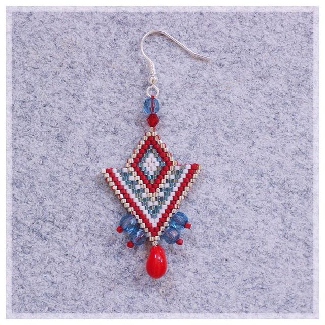 #bouclesdoreilles#perlesmiyuki#perles#blue#red#jenfiledesperlesetjaimeca#bijouxfantaisie