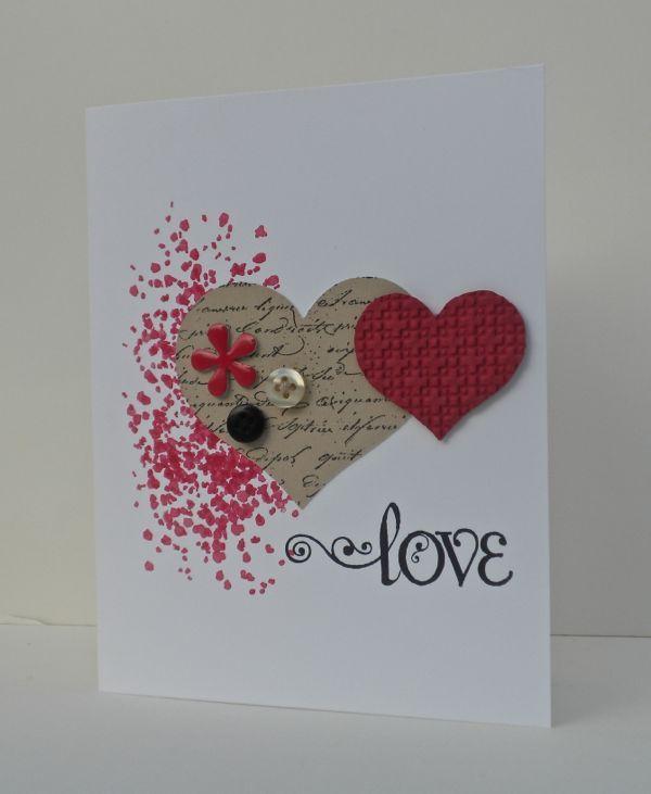 Beautiful, simple, elegant Valentine/Wedding or Wedding Shower card. Gorgeous Grunge, Flower Punch, Heart Punches.