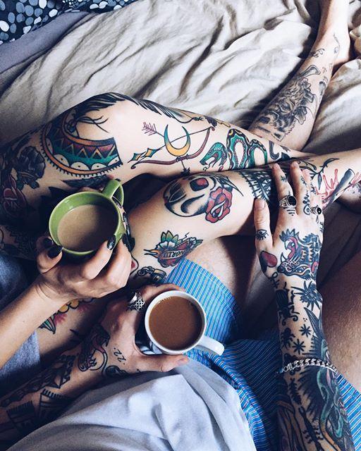 tattoo couple coffee morning