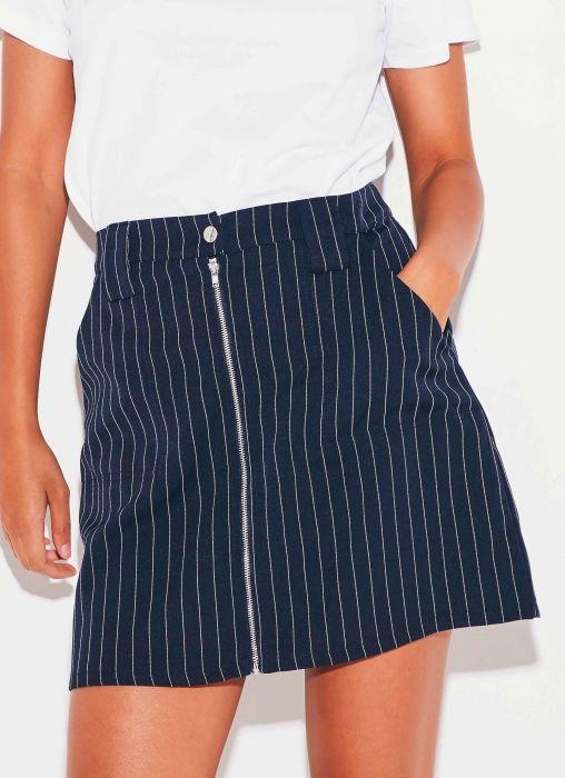 Beyond Her Zip Line Skirt - Stripe