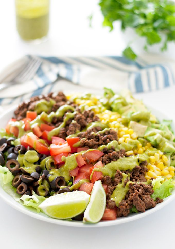 {skinny} taco salad with avocado cilantro dressing - gluten and dairy-free | ahappyfooddance.com
