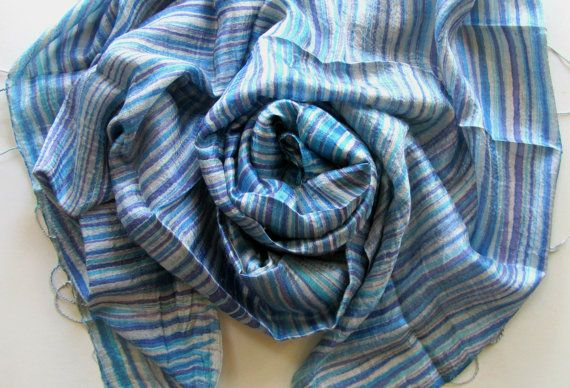 Blue Toned Silk Shawl Hand Dyed Handwoven Batik Handmade