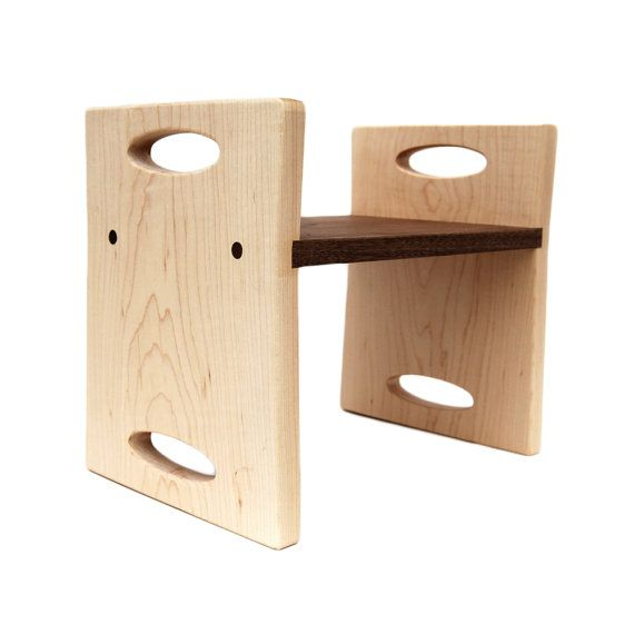modern kids step stool, personalized walnut and maple double sided wooden stool with carrying handles