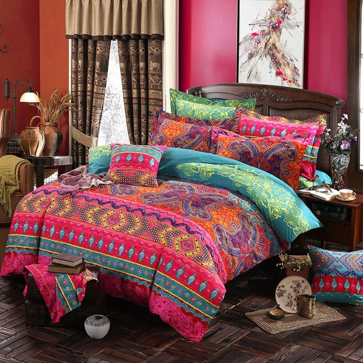MAXYOYO New!Boho Style Duvet Cover Set,Colorful Stripe Sheet Sets,Bohemia Bedding Set 4Pcs Queen Size